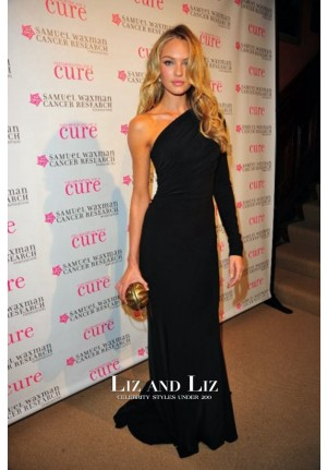 Candice Swanepoel Inspired Black One-shoulder Prom Celebrity Dress