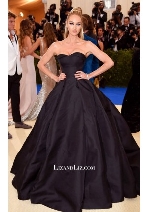 Candice Swanepoel Black Strapless Formal Prom Dress Met Gala 2017