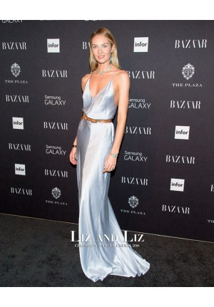 Candice Swanepoel Blue Evening Prom Celebrity Dress Harper's Bazaar Party