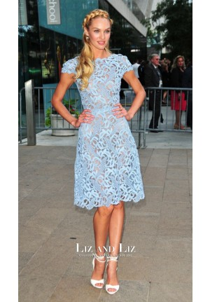 Candice Swanepoel Blue Lace Red Carpet Dress CFDA Fashion Awards 2012