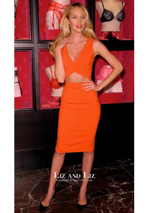 Candice Swanepoel Short Orange Cut-out Cocktail Party Celebrity Dress
