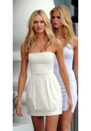 Candice Swanepoel Short White Cocktail Party Dress Very Sexy Jet Tour