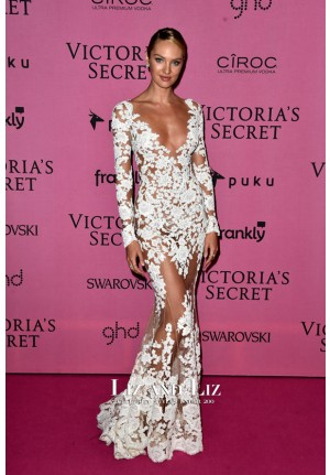 Candice Swanepoel Inspired White Lace Mermaid Long-sleeve Celebrity Dress