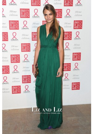 Cara Delevingne Green Chiffon Celebrity Dress Sidaction Gala Dinner 2012