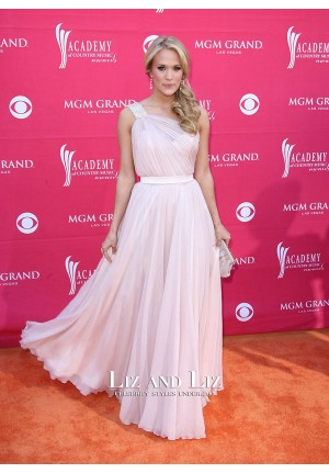 Carrie Underwood Pink One-shoulder Prom Dress County Music Awards 2009