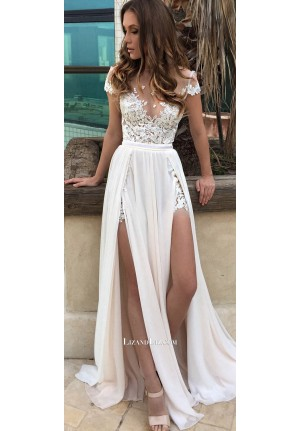 Celebrity Inspired White Lace Chiffon Prom Dress With Slit
