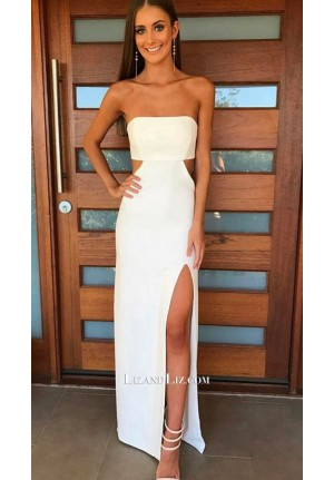 Celebrity Inspired White Strapless Cut-out Formal Prom Dress With Slit