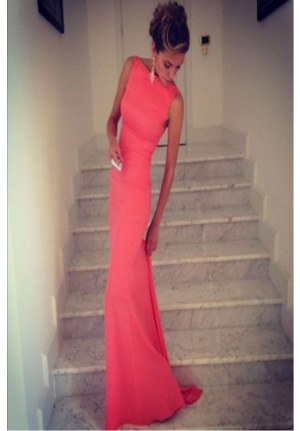Celebrity Inspired Sleeveless Backless Formal Prom Dress Evening Gown