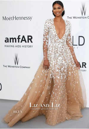 Chanel Iman Nude and White Long-sleeve V-neck Tulle Dress amfAR 2015