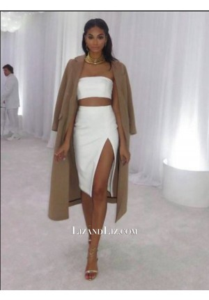Chanel Iman Inspired Short White Two-piece Cocktail Party Celebrity Dress