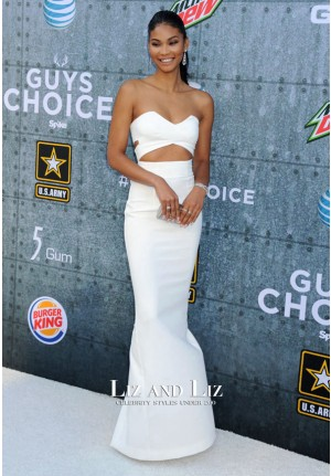 Chanel Iman White Strapless Cut-out Dress Spike TV's 2015 Guys Choice