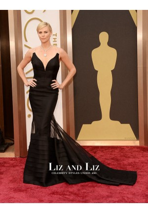 Charlize Theron Black Mermaid Celebrity Prom Dresses Oscars 2014 Red Carpet