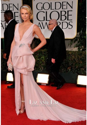 Charlie Theron Pink Plunging Chiffon Prom Dress Golden Globes 2012