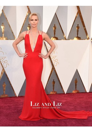 Charlize Theron Red V-neck Backless Prom Dress Oscars 2016 Red Carpet