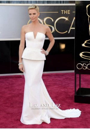 Charlize Theron White Strapless Mermaid Gown Oscars 2013 Red Carpet Dresses