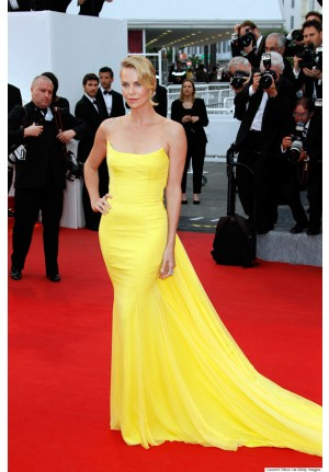 Charlize Theron Yellow Strapless Celebrity Dress Cannes 2015 Red Carpet