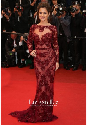 Cheryl Cole Inspired Red Long-sleeve Mermaid Lace Dress Cannes Film Festival