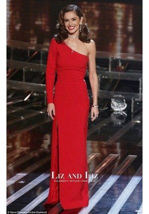 Cheryl Cole Inspired Red One-shoulder Celebrity Dresses X Factor 2015