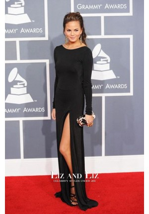 Chrissy Teigen Black Long-sleeve Prom Dress Grammys 2012 Red Carpet