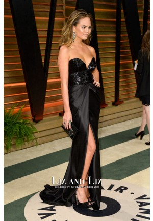 Chrissy Teigen Black Strapless Celebrity Dress Oscars 2014 Party Red Carpet