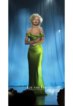 Christina Aguilera Burlesque Green Off-the-shoulder Celebrity Evening Prom Dress
