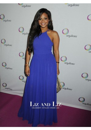 Christina Milian Blue Chiffon Celebrity Prom Dresses Skirts Only Fashion Show