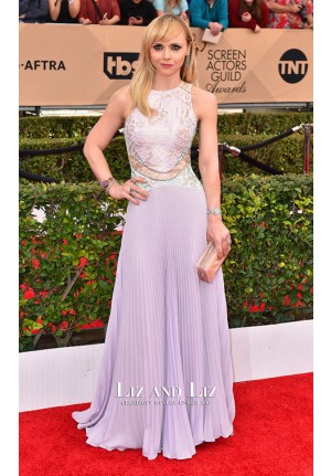 Christina Ricci Lavender Lace Chiffon Red Carpet Dress SAG Awards 2016