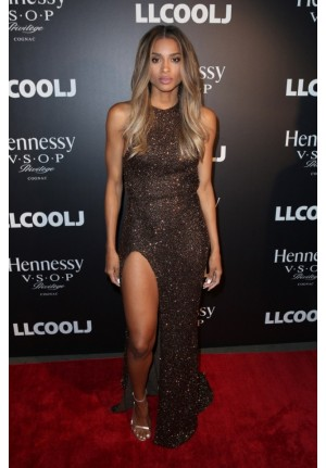Ciara Halter Backless Sequin Prom Celebrity Dress Pre-Grammy Party