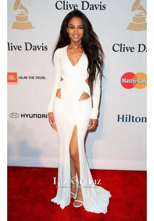 Ciara White Long-sleeve V-neck Cut-out Prom Dress Pre Grammy