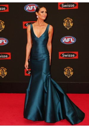 Clementine McVeigh Teal Blue Mermaid Celebrity Dresses Brownlow Medal 2015