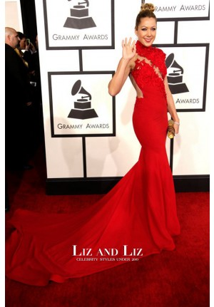 Colbie Caillat Red Evening Prom Red Carpet Dress Grammy Awards 2014