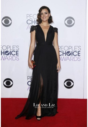 Cote de Pablo Black Cap-sleeve Prom Dress People's Choice Awards 2015