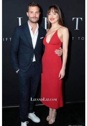 Dakota Johnson Red Cocktail Party Dress 'Fifty Shades Freed' LA Premiere