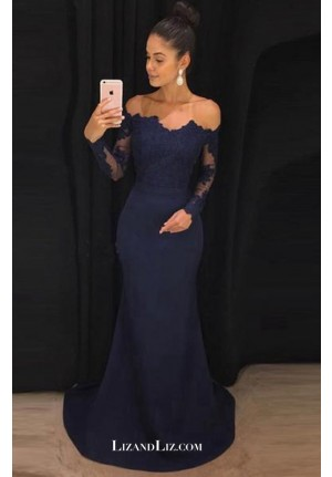Celebrity Inspired Dark Navy Lace Off-the-shoulder Formal Prom Gown