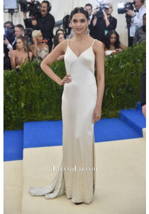 Deepika Padukone White Satin Evening Prom Celebrity Dress Met Gala 2017