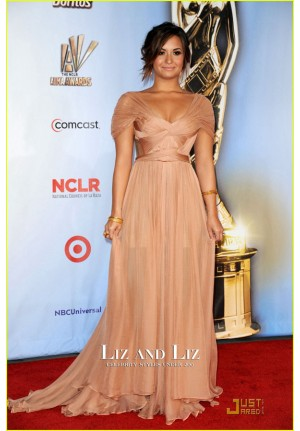 Demi Lovato Champagne Chiffon Celebrity Dress ALMA Awards 2011