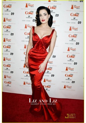 Dita Von Teese Red Satin Evening Prom Celebrity Dress Heart Truth 2011