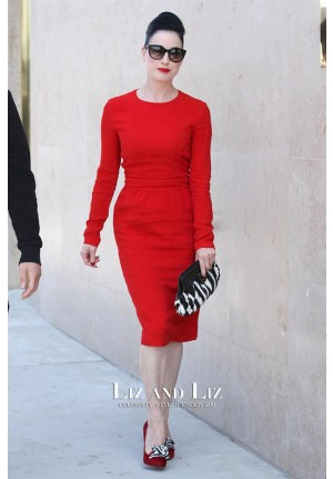 Dita Von Teese Short Red Long-sleeve Cocktail Party Pencil Celebrity Dress