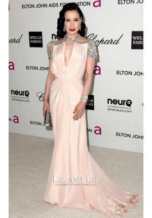 Dita Von Teese Pink Beaded Cap-sleeve Red Carpet Dresses Oscar Party 2012