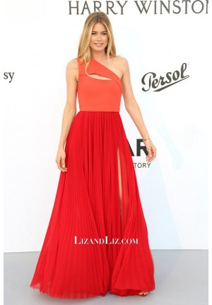 Doutzen Kroes Red One-shoulder Prom Dress amfAR Gala Cannes 2017