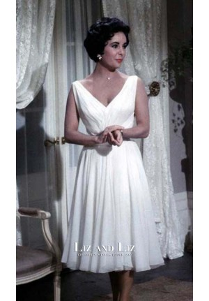 Elizabeth Taylor White Cocktail Party Dress in Movie Cat on a Hot Tin Roof