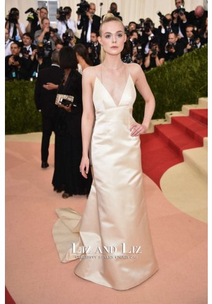 Elle Fanning Champagne V-neck Satin Dress Met Gala 2016 Red Carpet