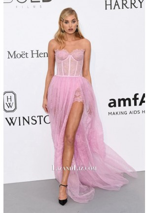 Elsa Hosk Pink Strapless Lace Dress Cinema Against AIDS Gala Cannes 2017
