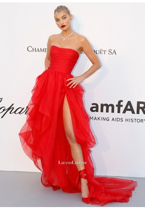 Elsa Hosk Red Strapless Formal Prom Dress with Slit amfAR Gala Cannes 2018