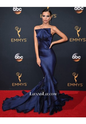 Emily Ratajkowski Navy Blue Strapless Mermaid Dress Emmy Awards 2016