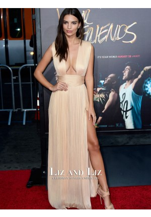 Emily Ratajkowski Champagne Celebrity Dress We Are Your Friends LA Premiere