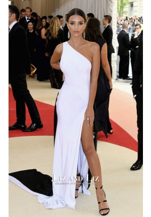 Emily Ratajkowski Black White One-shoulder Dress Met Gala 2016 Red Carpet