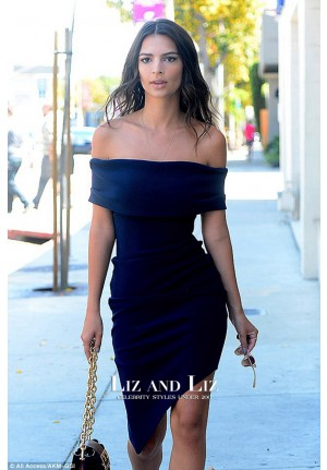 Emily Ratajkowski Navy Blue Dress Glamour's Game Changers Lunch