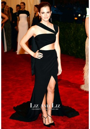 Emma Watson Black One-shoulder Cut-out Prom Dress Met Gala 2013
