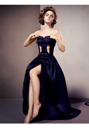 Emma Watson Navy Blue Strapless Cut-out Celebrity Prom Dress GQ UK 2013